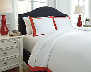 Ransik Pike 3-Piece Queen Duvet Cover Set, Coral, rollover
