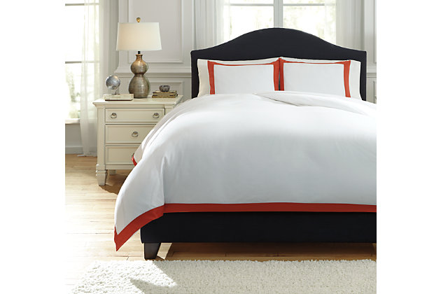 Ransik Pike 3-Piece King Duvet Cover Set, Coral, large