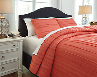 Solsta 3-Piece Queen Coverlet Set, Coral, rollover