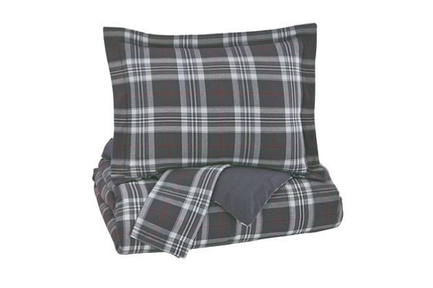 Baret 3-Piece Full Duvet Cover Set, Gray, large