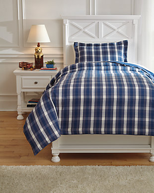 Baret 2-Piece Twin Duvet Cover Set, Blue, large