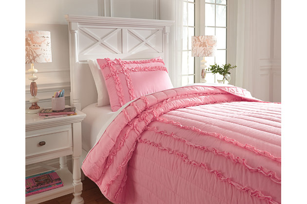 Pink Megara 2-Piece Twin Quilt Set by Ashley HomeStore, Cotton (100 %)