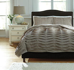 Voltos 3-Piece Queen Duvet Cover Set, Brown, large