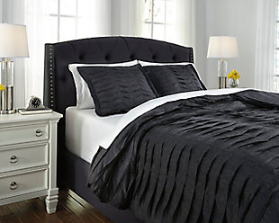 Voltos 3-Piece Queen Duvet Cover Set, Charcoal, rollover