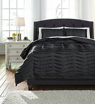 Voltos 3-Piece King Duvet Cover Set, Charcoal, large