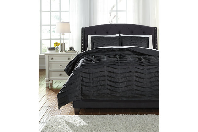 Voltos 3-Piece Queen Duvet Cover Set, Charcoal, large