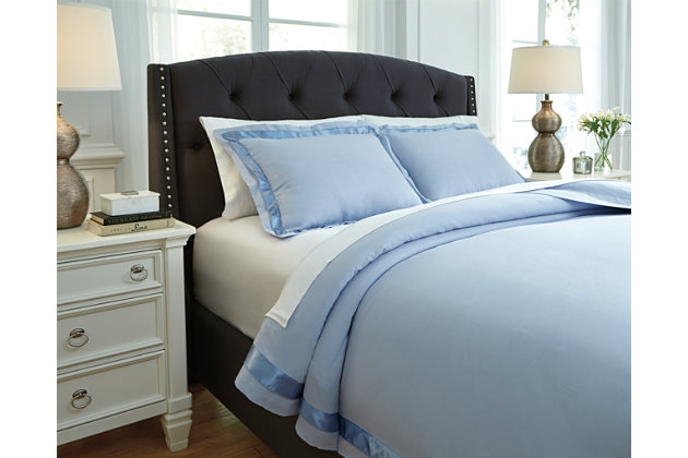Blue Farday 3-Piece King Duvet Cover Set by Ashley HomeStore, Cotton/Polyester