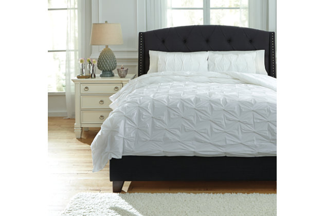 Rimy 3-Piece Queen Comforter Set, White, large