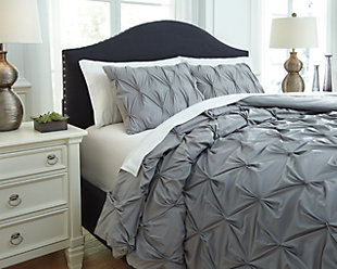 Rimy 3-Piece Queen Comforter Set, Gray, rollover