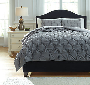 Rimy 3-Piece King Comforter Set, Gray, large