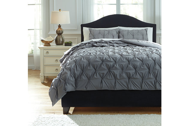 Rimy 3-Piece Queen Comforter Set, Gray, large