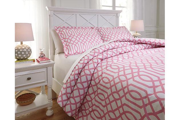 Loomis 3-Piece Full Comforter Set, Pink, large
