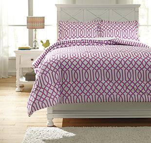 Loomis 3-Piece Full Comforter Set, Lavender, large
