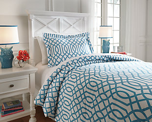 Loomis 2-Piece Twin Comforter Set, Aqua, rollover