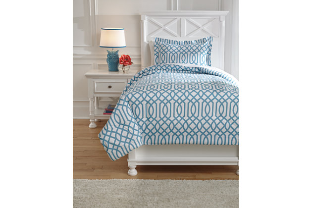 Loomis 2-Piece Twin Comforter Set, Aqua, large