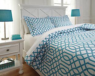 Loomis 3-Piece Full Comforter Set, Aqua, rollover