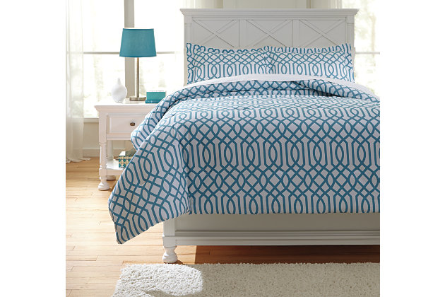 Loomis 3-Piece Full Comforter Set, Aqua, large