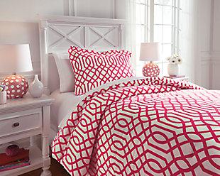 Loomis 2-Piece Twin Comforter Set, Fuchsia, rollover