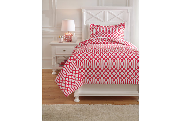 Loomis 2-Piece Twin Comforter Set, Fuchsia, large