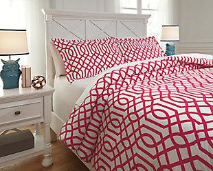 Loomis 3-Piece Full Comforter Set, Fuchsia, rollover