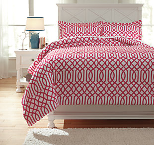 Loomis 3-Piece Full Comforter Set, Fuchsia, large