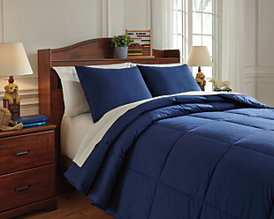 Plainfield 3-Piece Full Comforter Set, Navy, rollover