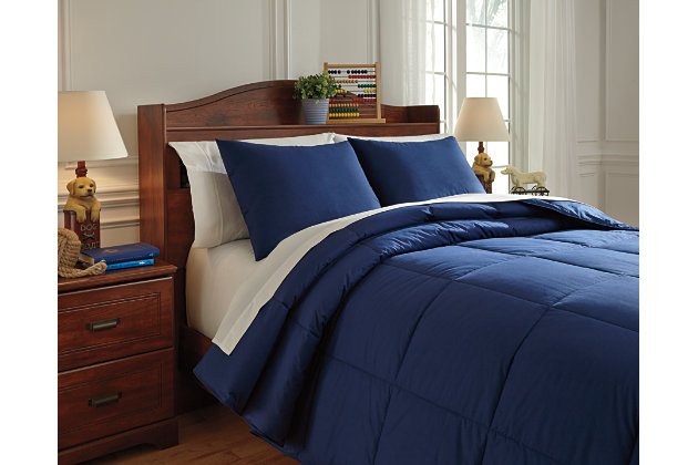 Plainfield 3-Piece Full Comforter Set, Navy, large