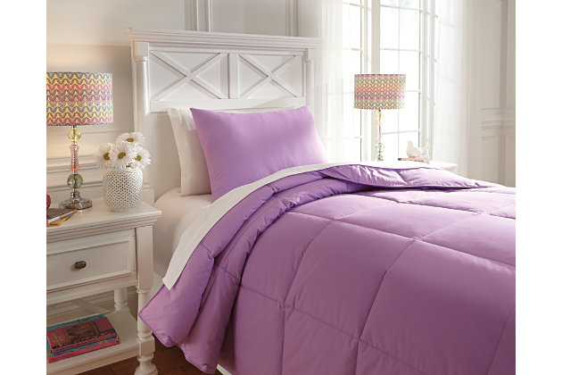 Purple Plainfield 2-Piece Twin Comforter Set by Ashley HomeStore, Cotton (100 %)