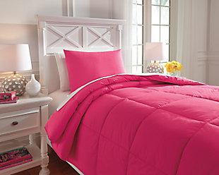 Plainfield 2-Piece Twin Comforter Set, Magenta, rollover