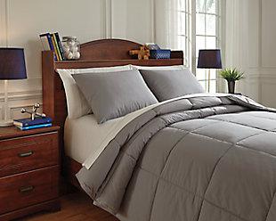 Plainfield 3-Piece Full Comforter Set, Gray, large