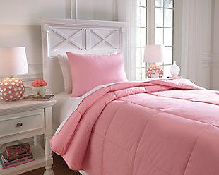 Plainfield 2-Piece Twin Comforter Set, Pink, rollover
