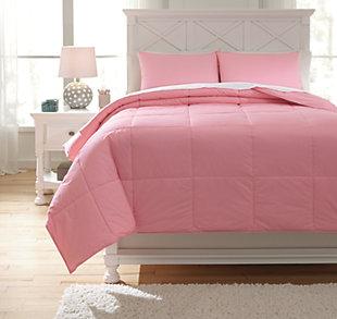 Plainfield 3-Piece Full Comforter Set, Pink, large
