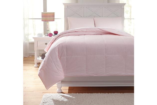 Plainfield 3-Piece Full Comforter Set, Soft Pink, large