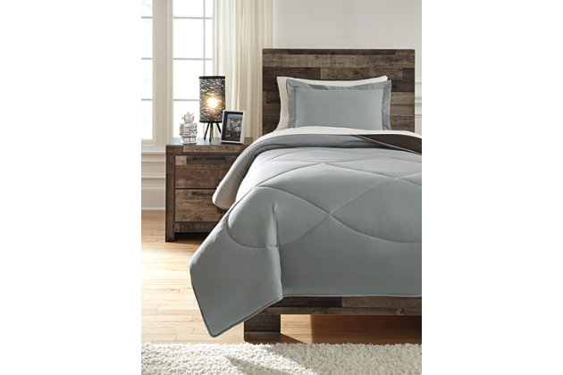 Massey 2-Piece Twin Comforter Set, Gray/Black, large