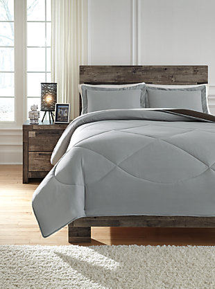 Massey 3-Piece Full Comforter Set, Gray/Black, large