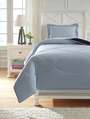 Massey 2-Piece Twin Comforter Set, Blue, rollover