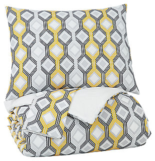 Mato 3-Piece Queen Comforter Set, Gray/Yellow/White, large