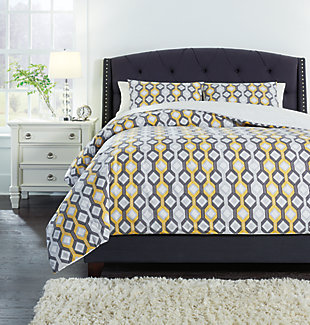 Mato 3-Piece Queen Comforter Set, Gray/Yellow/White, rollover