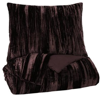 Wanete 3-Piece Queen Comforter Set, Wine, large