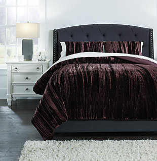 Wanete 3-Piece Queen Comforter Set, Wine, rollover