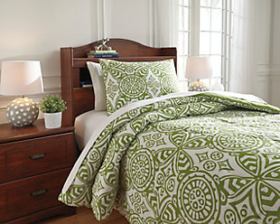 Ina 2-Piece Twin Comforter Set, Green, rollover
