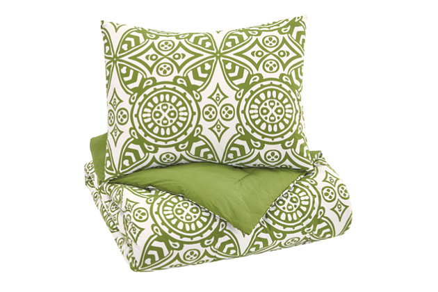 Ina 2-Piece Twin Comforter Set, Green, large