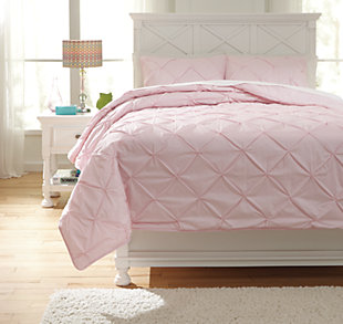 Medera 3-Piece Full Comforter Set, Rose, large