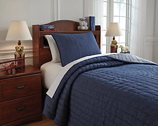 Capella 2-Piece Twin Quilt Set, Denim, rollover