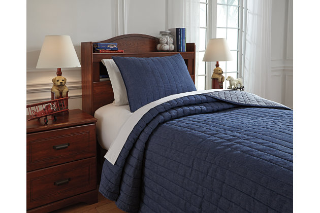 Capella 2-Piece Twin Quilt Set, Denim, large