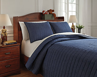 Capella 3-Piece Full Quilt Set, Denim, large