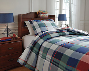 Mannan 2-Piece Twin Comforter Set, Plaid, rollover