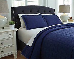 Amare 3-Piece Queen Coverlet Set, Navy, rollover