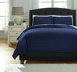 Amare 3-Piece Queen Coverlet Set, Navy, large