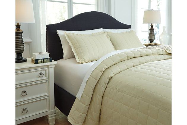 Amare 3-Piece Queen Coverlet Set by Ashley HomeStore, Tan...